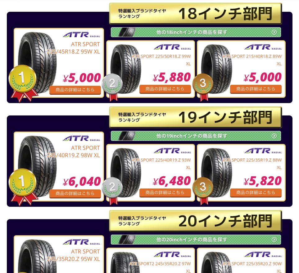 輸入タイヤランキング